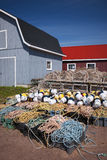 Lobster traps, floats and rope. Floats, rope and lobster traps in North Rustico, Prince Edward Island, Canada Royalty Free Stock Image