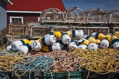 Lobster traps, floats and rope. Floats, rope and lobster traps in North Rustico, Prince Edward Island, Canada Royalty Free Stock Photography