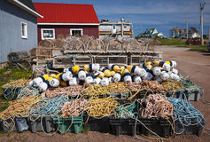 Lobster traps, floats and rope Royalty Free Stock Photography