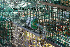 Lobster traps with flotation buoy Stock Photos