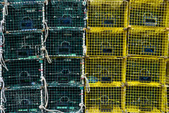 Lobster Traps. Green and Yellow Stacked LobsterTraps Stock Photography