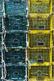 Lobster Traps. Green and Yellow Stacked LobsterTraps Royalty Free Stock Image