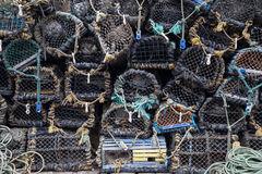 Lobster traps at the harbour royalty free stock images