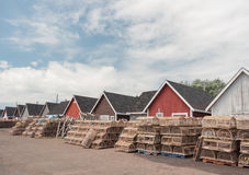 Lobster traps and huts Stock Image