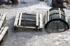 Lobster Traps in Ice & Snow Royalty Free Stock Photos