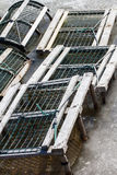 Lobster Traps in Ice & Snow Royalty Free Stock Images