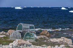 Lobster traps and icebergs. On Fogo Island, Newfoundland Royalty Free Stock Images