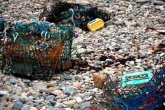 Lobster Traps at Low Tide on Maine Shore Stock Image