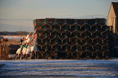 Lobster traps in New England in winter time Royalty Free Stock Photos