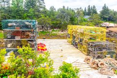 Lobster traps on a pier in Maine, USA stock photography
