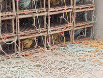 Lobster Traps and ropes Royalty Free Stock Photography