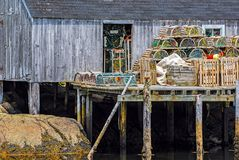 Lobster traps set up stock photography