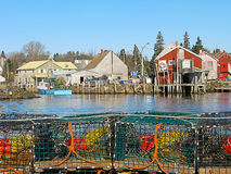 Lobster traps and sheds Royalty Free Stock Photos