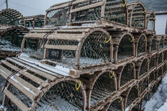 Lobster Traps in Snow Storm Stock Photos
