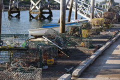 Lobster Traps Stacked on Dock Royalty Free Stock Photos