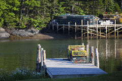 Lobster Traps Stacked on Dock Royalty Free Stock Images