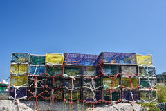 Lobster traps are stacked with many ropes Royalty Free Stock Photos