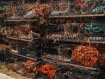 Lobster traps stacked Stock Photos