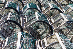 Lobster Traps on Wharf Stock Photo