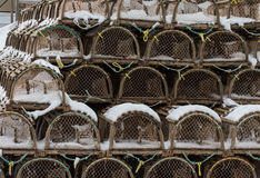 Lobster Traps on Wharf Stock Photos
