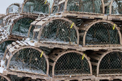 Lobster Traps on Wharf Royalty Free Stock Photography