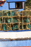 Lobster trawler - portrait. Closeup of a Lobster trawler with pots - portrait Stock Image