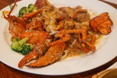 Lobster truffle mushroom red sauce chinese food stock photo