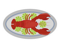 Lobster vector flat illustration fresh seafood icon claw meal and gourmet crustacean cooked dinner marine fish delicious. Ocean shell animal on plate. Delicacy Stock Images