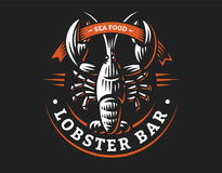 Lobster vector logo illustration. Crustacean in a vintage style. On white and dark background Stock Photo