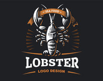 Lobster vector logo illustration. Crustacean in a vintage style. On white and dark background Royalty Free Stock Images