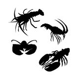 Lobster vector silhouettes Royalty Free Stock Photography