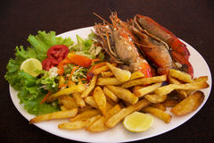 Lobster. With vegetables and salad Stock Images