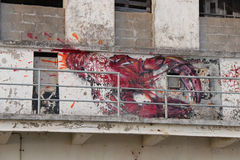 A lobster was painted on the facade of a disused factory near Etel (France) Stock Images