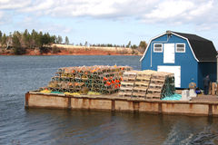 Lobster Wharf. Wharf loaded with lobster traps royalty free stock photography