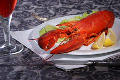 Lobster and wine stock images
