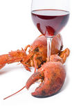 Lobster and Wine Royalty Free Stock Images