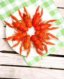 Lobsters. On a plate in outdoor cafe Royalty Free Stock Photos