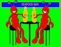 Lobsters in Bar. Lobster drinking crab sauce in a seafood bar Royalty Free Stock Photos