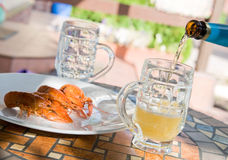 Lobsters with beer. Lobsters with a glass of beer Stock Image