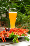 Lobsters and glass of beer Stock Image