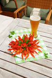 Lobsters and glass of beer Stock Photos