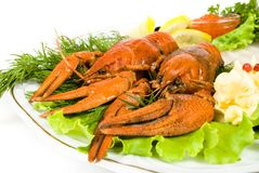 Lobsters with salad. And lemon Stock Photo