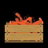 Lobsters in wooden crate. Vector crate with seafood. Natural, healthy food concept. Fresh sea animals collected in the wooden box. Flat design style Royalty Free Stock Photography
