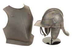 Lobstertail för period för inbördeskrig för 17th århundrade för antikvitet engelsk hjälm och bröstplatta Royaltyfri Fotografi