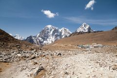 Lobuche village and mt. Lobuche, Sagarmatha National Park, Solu Khumbu, Nepal. Lobuche village and mt. Lobuche in background from route to mt. Everest Base Camp Stock Photos