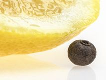 Lobule of lemon and seed of allspice. Closeup of lemon lobule and seed of allspice Royalty Free Stock Photography