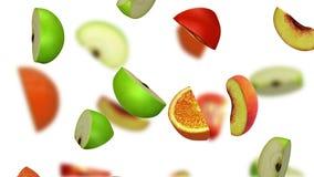 Lobules av frukter som faller på vit bakgrund, illustration 3d Fotografering för Bildbyråer