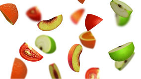 Lobules av frukter som faller på vit bakgrund, illustration 3d Arkivbilder