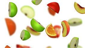 Lobules des fruits tombant sur le fond blanc, illustration 3d Image stock