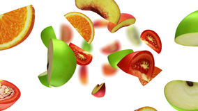 Lobules of fruits falling on white background, 3d illustration. Computer-generated image on the theme of healthy eating Stock Photography